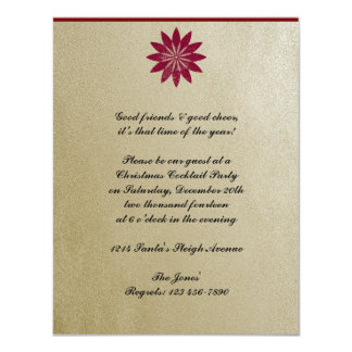 Modern Red Poinsettia Flower on Gold Background Card