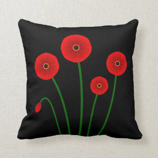 Modern Red Poppies Accent Pillow