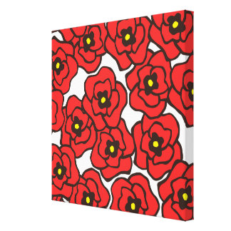Modern Red Poppies Floral Print Canvas Wall Art