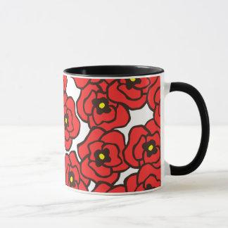 Modern Red Poppies Floral Print Coffee Mug