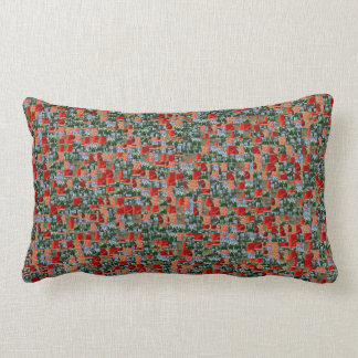 Modern red poppy flowers and blue flowers pattern lumbar pillow