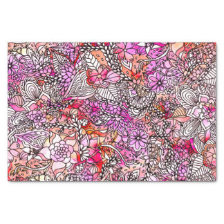 Modern red purple watercolor floral illustration tissue paper
