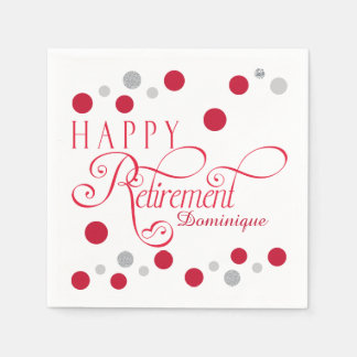Modern Red Retirement Party Napkins Paper Napkin