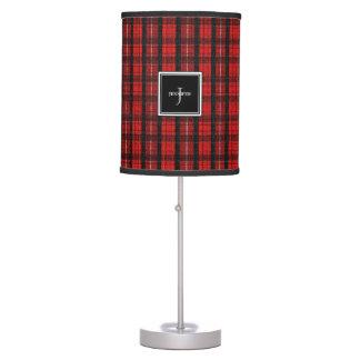 Modern red Scottish tartan fabric monogram name Table Lamp