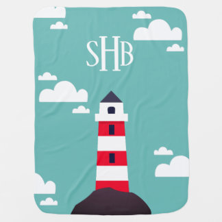 Modern Red Striped Lighthouse & Initials Baby Blanket