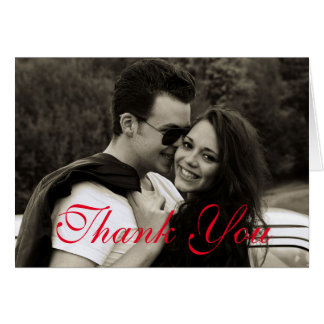 Modern Red Text Thank You Card Customize Love