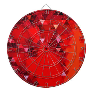 Modern Red Triangles Graphic Abstract Dartboard With Darts