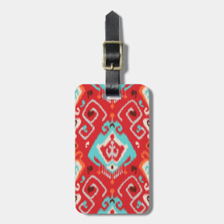 Modern red turquoise girly ikat tribal pattern luggage tag