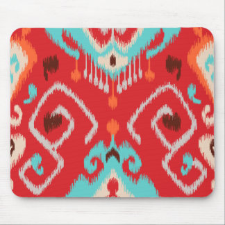 Modern red turquoise girly ikat tribal pattern mouse pad