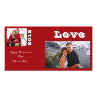 Modern Red Valentine Photo Card
