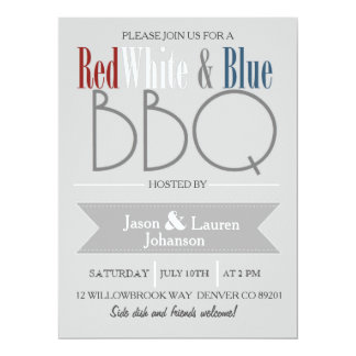 Modern Red White and Blue BBQ | 4th of July Party Card