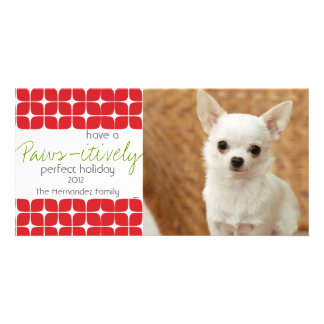 Modern Red & White Christmas Pet Holiday Card! Photo Card Template