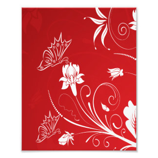 Modern Red & White Floral Photo Print