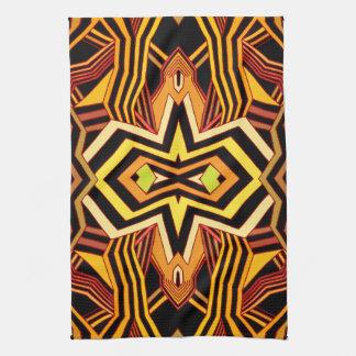 Modern Red Yellow & Black Geometric Kitchen Towel