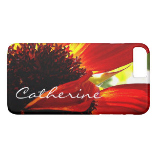 Modern red yellow daisy close-up photo custom name iPhone 8 plus/7 plus case
