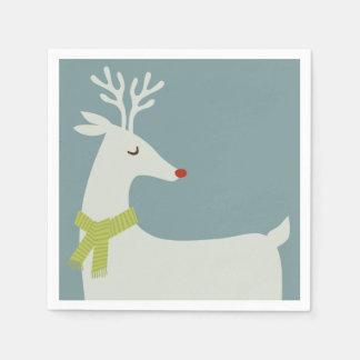 Modern Reindeer Holiday Napkins Paper Napkin