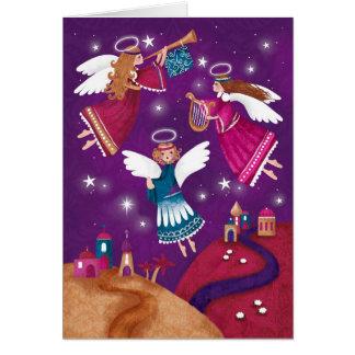 Modern religious Chritmas, three angels Card