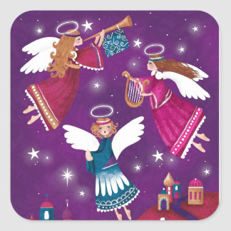 Modern religious Chritmas, three angels Square Sticker