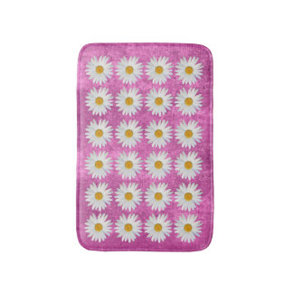 Modern Repeated Daisy Pattern on Pink Texture Bath Mat
