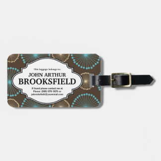 Modern Retro Brown Blue Starbursts With Name Luggage Tag