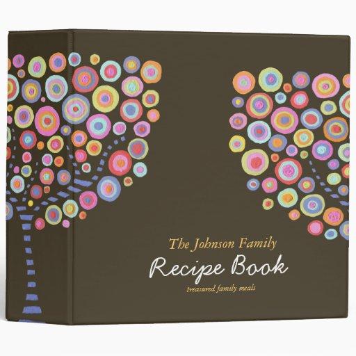 Modern Retro Circle Tree Recipe Binder Organizer