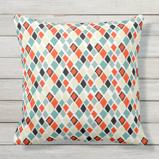 modern retro colorful diamonds geometric pattern throw pillow