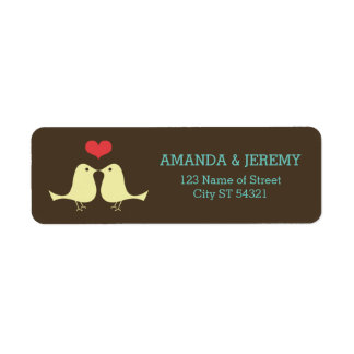Modern Retro Lovebirds Wedding Return Address Label