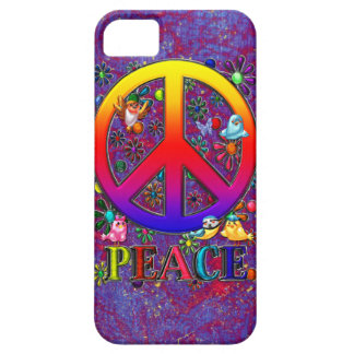 Modern Retro Peace Sign Text Birds & Flowers Case For The iPhone 5