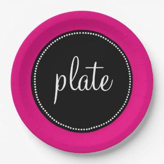 Modern Retro Personalized Custom Hot Pink Paper Plate