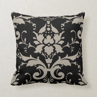Modern Retro Silver Grey Damask on Black Pillow