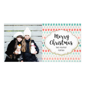 Modern Retro Trees Christmas Picture Photo Card