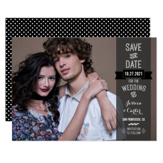 Modern Retro Typography Photo Save the Date Card