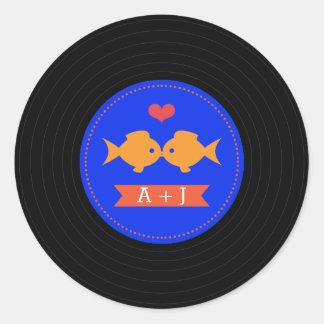 Modern Retro Vinyl Record Nautical Classic Round Sticker
