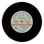 Modern Retro Vinyl Record Orange Sky Blue Wedding