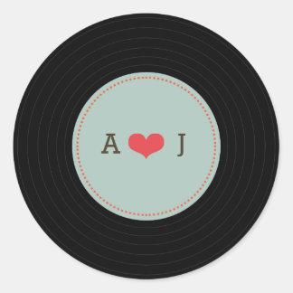 Modern Retro Vinyl Record Wedding Blue Envelope Round Sticker