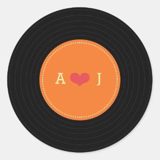 Modern Retro Vinyl Record Wedding Orange Favor Round Sticker