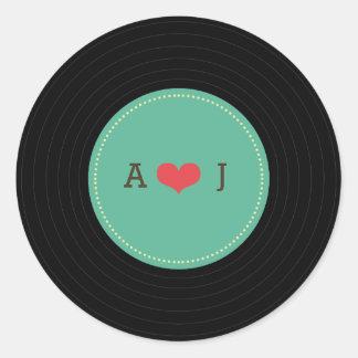 Modern Retro Vinyl Record Wedding Teal Favor Seal Round Sticker