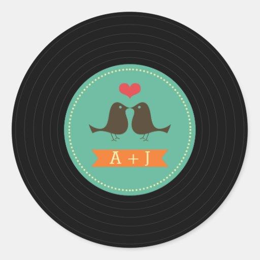 Modern Retro Vinyl Record Wedding Teal Round Sticker