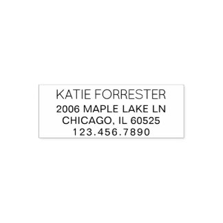 Modern Return Address | Custom Text 4 Lines Phone Self-inking Stamp
