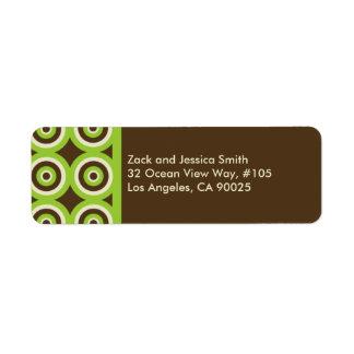 Modern Return Address Label Green & Brown