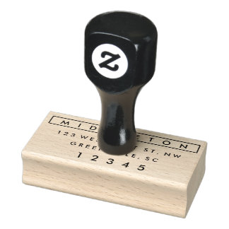 Modern return address rubber stamp