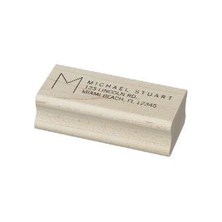 Modern Return Address with Monogram Rubber Stamp