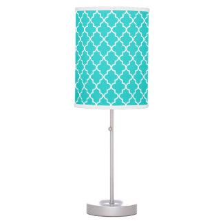 Modern Robin's Egg Blue Moroccan Quatrefoil Table Lamp