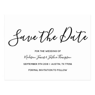 Modern Romance | Simple Elegance | Save the Date Postcard