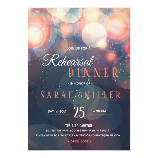 Modern Romantic Bokeh Lights Rehearsal Dinner Card
