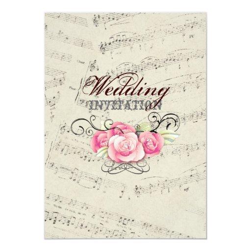 Modern Romantic Music Notes Music Wedding 5 X 7 Invitation Card