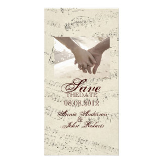 Modern Romantic Music notes Music Wedding Photo Card Template