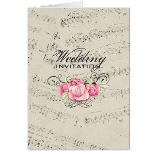 Modern Romantic Musicnotes Music Wedding Card
