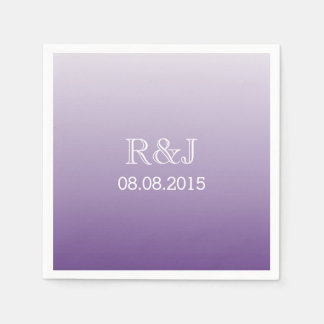 modern romantic summer lilac ombre purple wedding disposable napkin