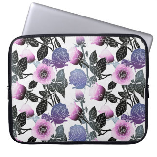 Modern Rose Floral Design Laptop Sleeve -Pink/Blue